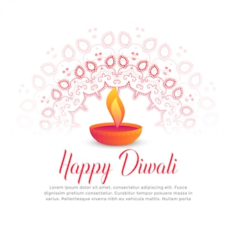 Diwali-Festival, das diya und Mandalakunst brennt
