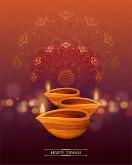 Diwali festival design mit diya und rangoli, was öllampen- und bodendekorationen auf bokeh-hintergrund bedeutet