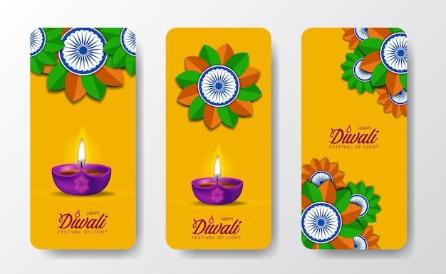 Diwali-festival-feriendesign mit papierschnitt-stil des indischen mandala rangoli ashoka-rades mit öllampenlicht social-media-geschichten