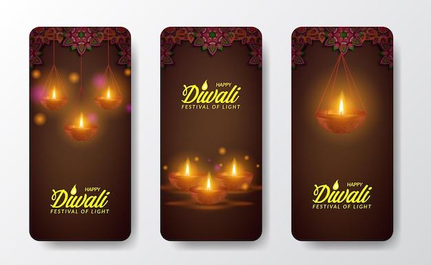Diwali-festival-feriendesign mit papierschnitt-stil indischer öllampenlicht-social-media-geschichten