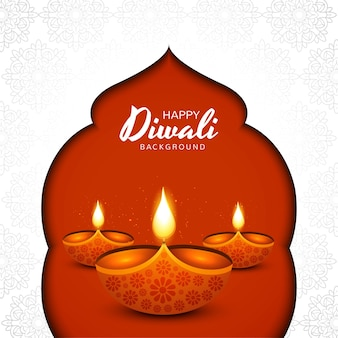 Diwali festival grußkarte mit diwali diya öllampe hintergrund