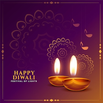 Diwali-festival-hintergrund mit realistischem diya-design