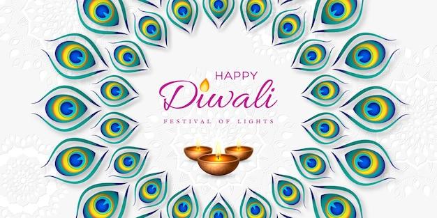 Diwali festival holiday design mit papierschnitt-stil von pfauenfeder und diya - öllampe. runder rahmen auf weißem hintergrund. vektor-illustration.