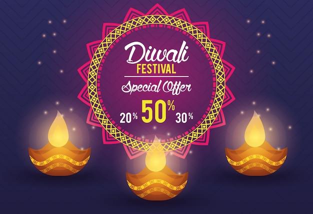 Diwali festival indianer angebot banner design