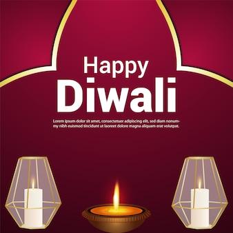 Diwali festival of india feier grußkarte mit vektor-illustration with