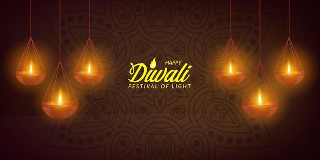 Diwali festival of light licht öllampe poster banner grußkartenvorlage
