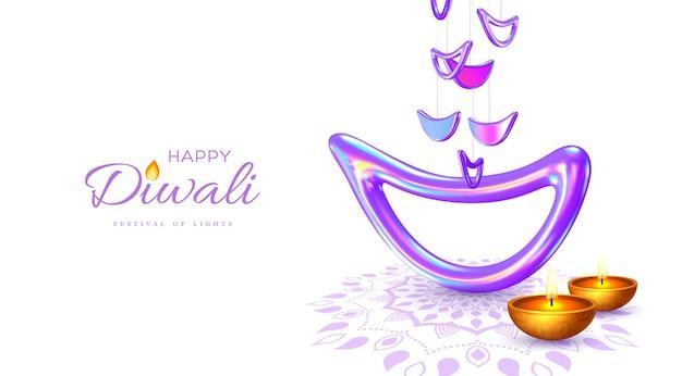 Diwali festival of lights urlaubsdesign mit indischer diya-lampe in schillernder farbe.
