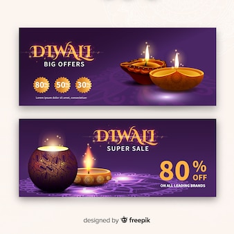 Diwali festival sale banner im realistischen stil