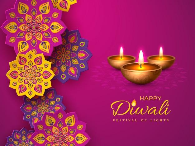 Diwali festival urlaub design mit papierschnitt stil der indischen rangoli und diya - öllampe. purpurroter farbhintergrund, vektorillustration.