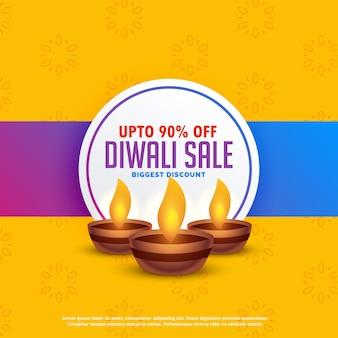Diwali festival verkauf hintergrund mit drei diya lampen