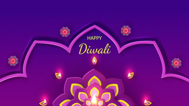 Diwali festivalfeiertagsentwurf mit papierschnittart des indischen rangoli und der blumen.
