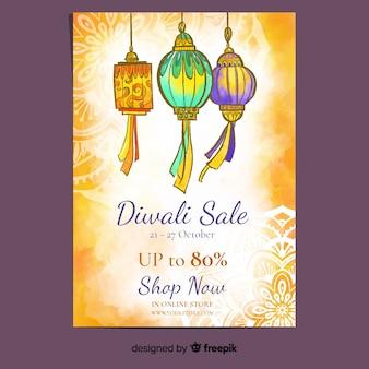 Diwali flyer vorlage im aquarell-stil