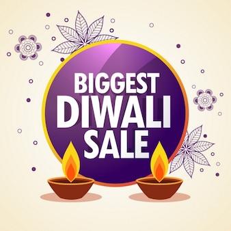 Diwali fördernde verkauf banner mit blumenschmuck