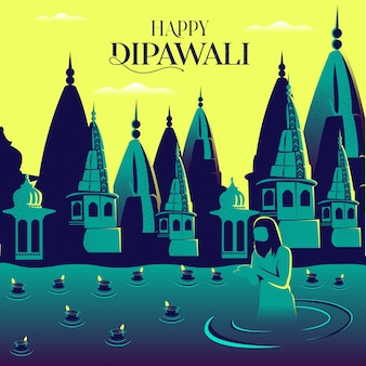 Diwali ganga ghat fluss grußvorlage