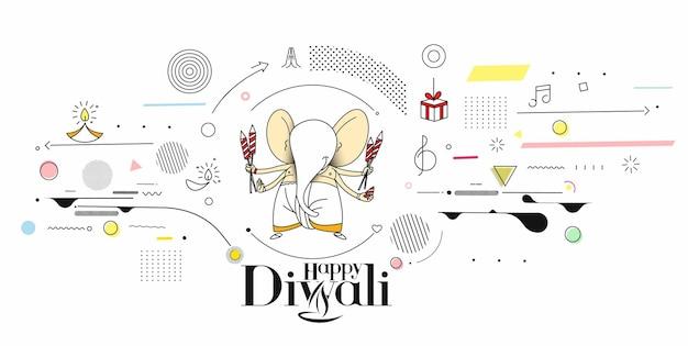 Diwali hindu festival grußkarte, handgezeichnete linie kunst vektor-illustration.