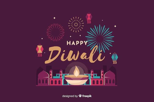 Diwali-hintergrund im flachen design