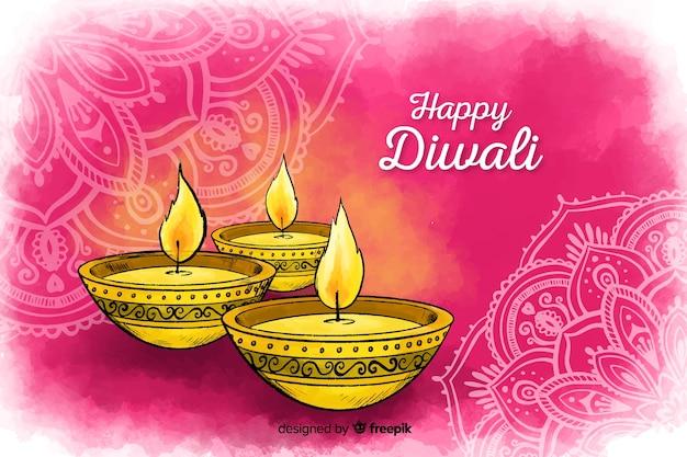 Diwali-hintergrund in der aquarellart