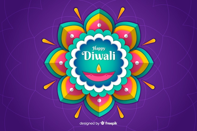 Diwali-hintergrund in der papierart mit abstrakter blume