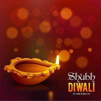 Diwali hintergrund mit kerze und bokeh-effekt