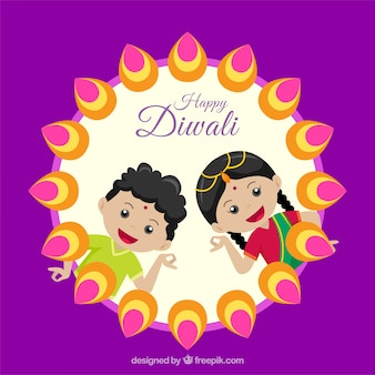 Diwali hintergrund mit kindern gruß