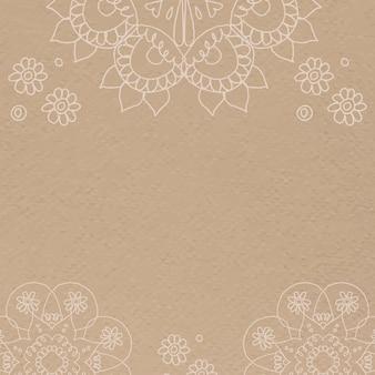 Diwali indischer mandala brauner hintergrundvektor