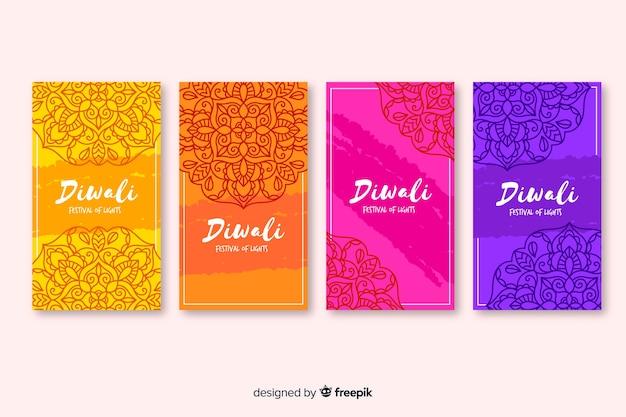 Diwali instagram geschichten und traditioneller hintergrund