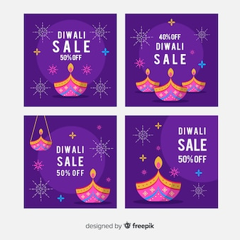 Diwali instagram nachtpurpur-schattenbeitragssammlung
