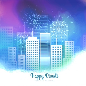 Diwali-karte mit aquarell-stadtbild
