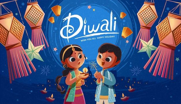 Diwali-kinder, die öllampe und wunderkerze mit hängenden indischen laternen und himmelslaternen halten