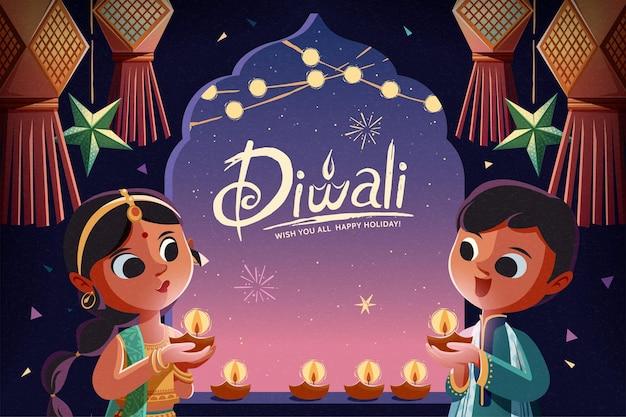 Diwali-kinder, die öllampen mit hängenden laternen im sternenklaren nachthintergrund halten