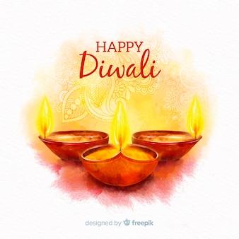 Diwali-konzept mit aquarellhintergrund