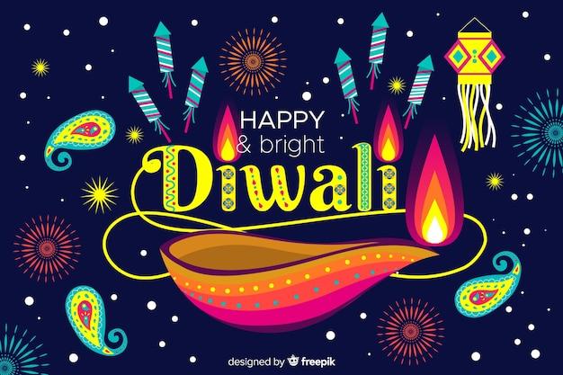 Diwali-konzept mit flachem designhintergrund