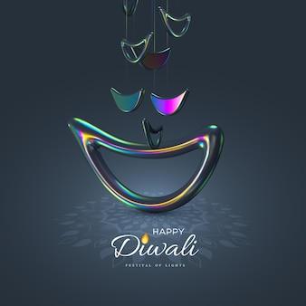 Diwali-lichterfest mit realistischem stil der indischen diya-lampe in schillernder farbkarte
