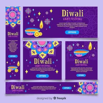 Diwali-netzfahnen im flachen design