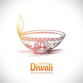 Diwali öllampe festival hand zeichnen skizze karte design
