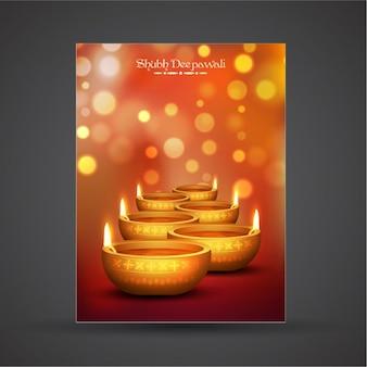 Diwali plakat vorlage mit bokeh-effekt