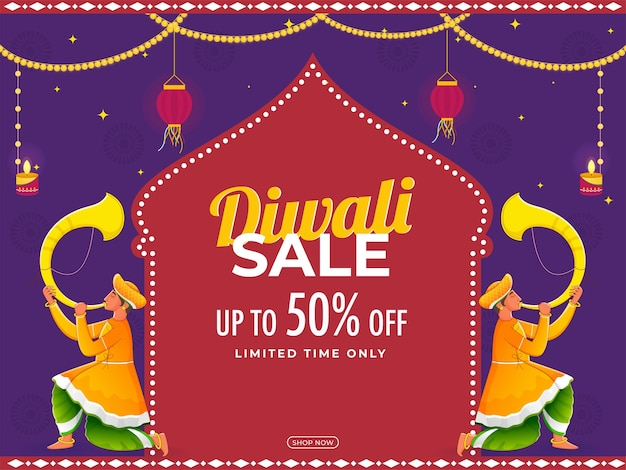 Diwali sale poster design mit traditioneller tutari-spieler-illustration