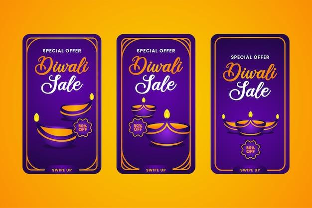 Diwali social media geschichten vorlage design-sammlung