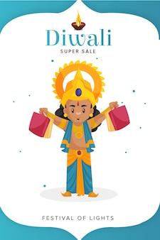 Diwali super sale flyer und poster