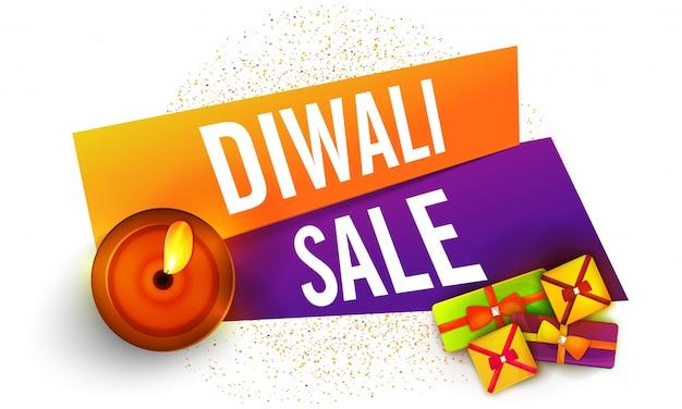 Diwali verkauf banner design mit geschenken und öllampe.