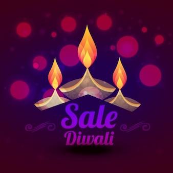 Diwali verkauf design mit bunten diya vektor-illustration