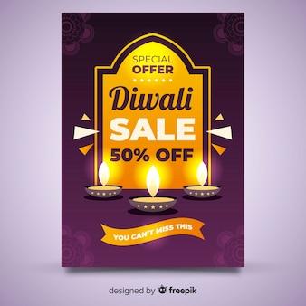 Diwali verkauf flyer vorlage mit realistischem design