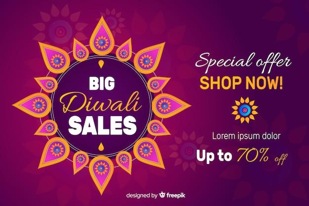 Diwali verkauf im flachen design mit farbverlauf