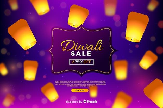 Diwali verkauf mit lichtern