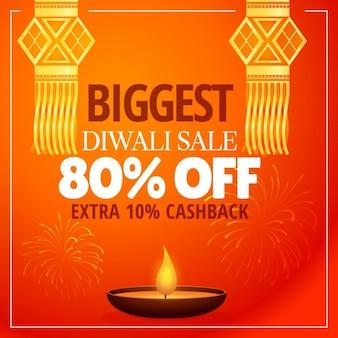 Diwali verkaufsangebot mit hängenden lampen diya und feuerwerk