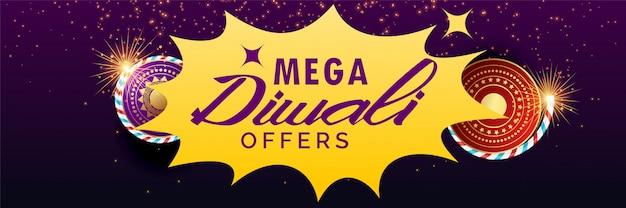 Diwali-verkaufsfahne mit crackern