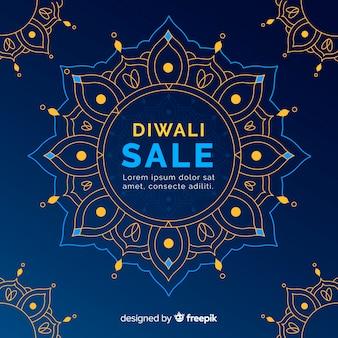 Diwali-verkaufskonzept mit flachem designhintergrund