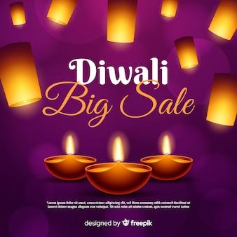 Diwali-verkaufskonzept mit realistischem hintergrund