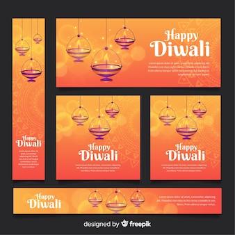Diwali web-banner-sammlung mit flachem design