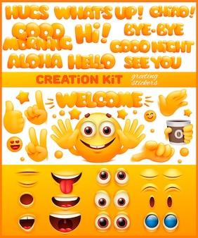 Diy kreationskit. gelbe emoji-zeichentrickfigur. emoticon lächeln gesicht.